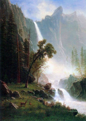 Art paintings Albert Bierstadt, waterfall Yosemite