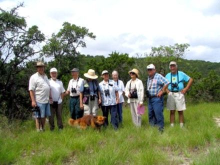 birders visiting Bear Springs Blossom Nature preserve Pipe Creek Texas Hill Country Bandera County to watch native birds, enjoy the B+S+B natural canyon