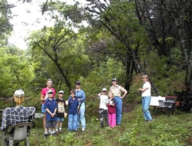 boy scouts and girl scouts on a guided tour through Bear Springs Blossom Nature Preserve in Pipe Creek, TX, Bandera County