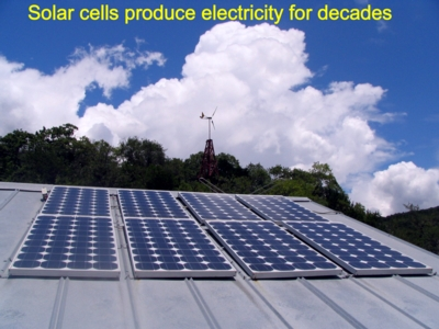 Renewable information online: solar cells or photovoltaics or solar electric panels are renewable energy. B+S+B uses PV at our nature preserve to produce electricity without polluting the air - solar power helps us to save money at Bear Springs Blossom Nature Conservation - get facts on the use of solar electrical energies, how to install a solar panel, how to connect photo voltaic, how several collectors can boost energy potential levels