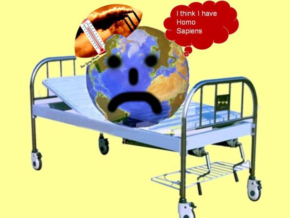 earth is sick, lies on a hospital bed