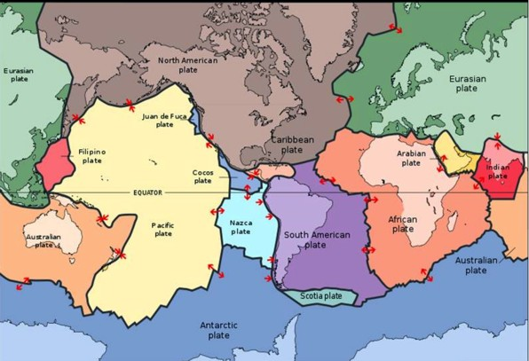 BSB conservation education online: earth's surface consists of many continental and oceanic plates also called tectonic plates moving all the time causing earthquakes