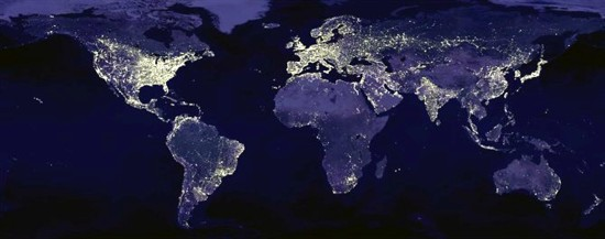 geographical map about light pollution, waste of energy on our planet Earth