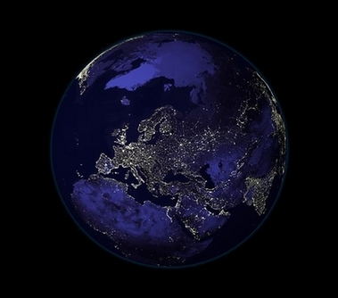 Europe at night. Light pollution leads to air pollution, to more greenhouse gases, to changing climate. Bear Springs Blossom Nature Conservation group provides education to see the big picture, to secure the future of Earth