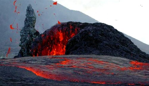When magma is visible it is called lava. On many spots on Earth you can see lava running pulled by gravity