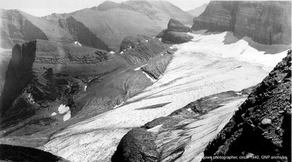 Once a mighty Grinnell glacier in the year 1940. Life fitting to ice and snow, animals, plants, varieties of drinking water springs for humans, to enjoy a big glacier with clean air, clean water