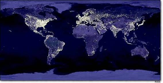 Earth at night - light pollution causes air pollution, causing climate change through higher greenhouse gases, causing food shortages, causing human illnesses