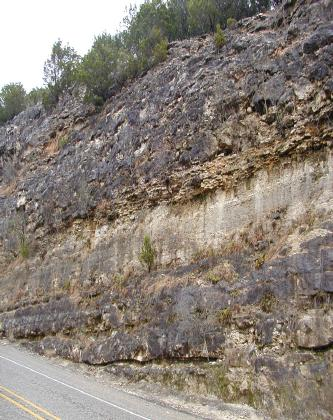 natural limestone Layer seen on Hwy Bandera County