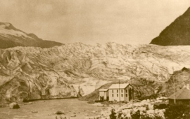 BSB Conservation education on weather includes global warming leading to melting ices: Mendenhall glacier Alaska photo from 1917 - glacier in its full beauty. Melting glaciers belongs to global issues