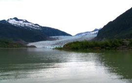 Mendenhall glacier Alaska photo from 2008 - glacier retreat by over a mile - glacier shrinking, less reflection, less drinking water reserve - changed salinity in oceans