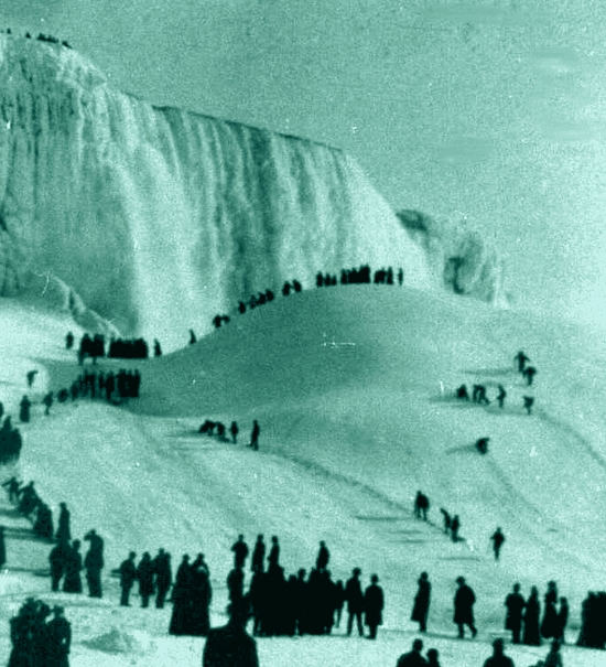 Niagara falls frozen water year 1911, water in a different stage, frozen by climate, liquid under the ice, water data history