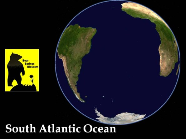the Atlantic ocean spans from the North to the South of Earth, look at the South