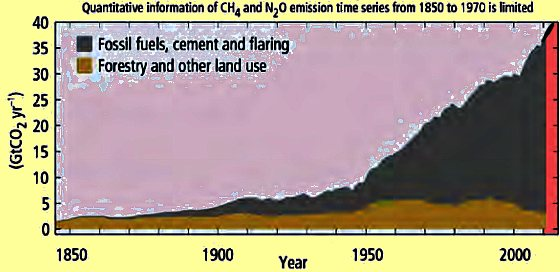 BSB Conservation education online: graphic of CO2 levels carbon dioxide CO2 1850 till today