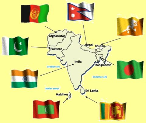 India and its surrounding countries and the flags to each country