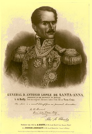 Antonio de Padua Mar�a Severino L�pez de Santa Anna y P�rez de Lebr�n, also called the Napoleon of the West, was a Mexican politician and general who greatly influenced early Mexican politics and government