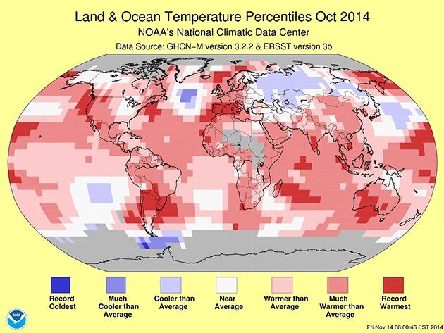 BSB research using data from NOAA: record temperatures worldwide in October. BSB sees a connection between warmer weather, higher temperatures and thawing sea ice