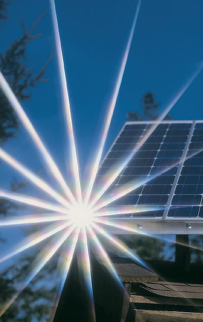 when the sun shine on photo-voltaic cells they produce DC direct current electricity of about 0.5 volts on each cell. Adding up many solar cells you can produce any Volt amount of solar electricity