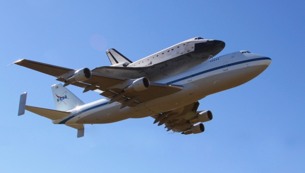 NASA shuttle is transported back to JFK space center in Port Canaveral in Florida on a modified 747