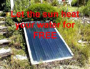 Solar water heating system at Bear Springs Blossom Nature Conservation made out of an insulated aluminum box with safety glass and copper pipes and copper heat catching plates